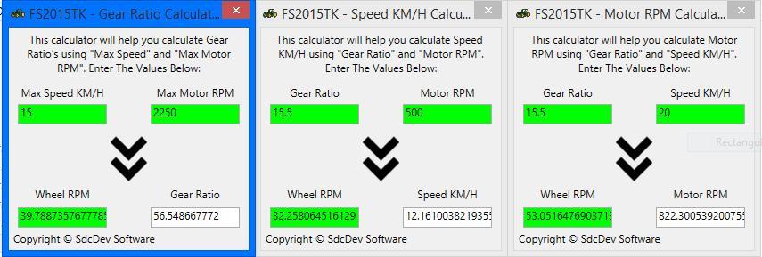 PHYSICS CALCULATORS (MOTOR, GEAR RATIO, SPEED) V1 0 FS15