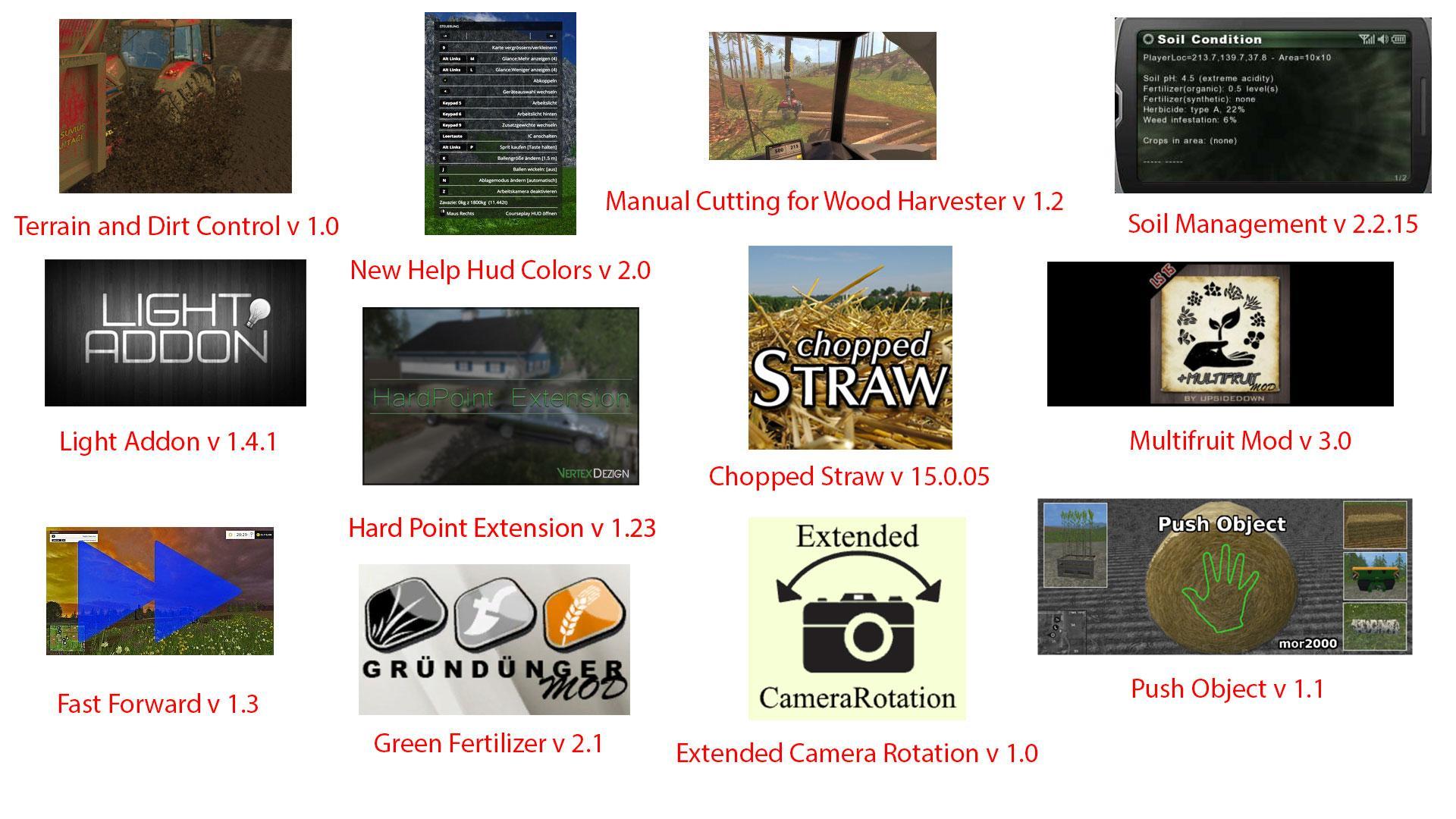 big mods pack v11 scripts pack v2 for fs15 farming. Black Bedroom Furniture Sets. Home Design Ideas