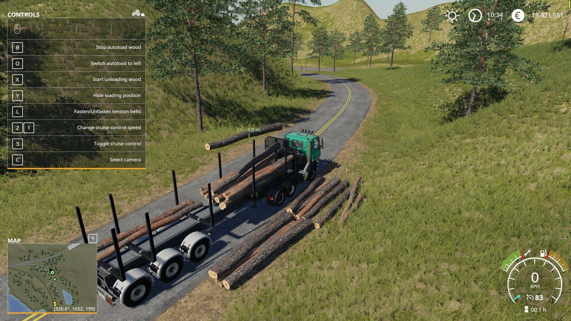 FS19 Timber Runner Wide With Autoload Wood v1 0 - Farming